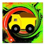 Dump Truck on Abstract Square Car Magnet 3
