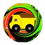 Dump Truck on Abstract Round Car Magnet