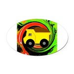Dump Truck on Abstract Oval Car Magnet
