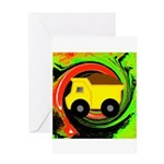 Dump Truck on Abstract Greeting Cards