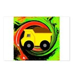Dump Truck on Abstract Postcards (Package of 8)