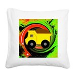 Dump Truck on Abstract Square Canvas Pillow