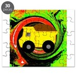 Dump Truck on Abstract Puzzle