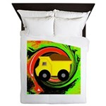 Dump Truck on Abstract Queen Duvet