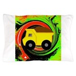 Dump Truck on Abstract Pillow Case