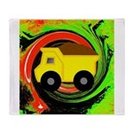 Dump Truck on Abstract Throw Blanket