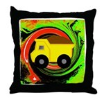 Dump Truck on Abstract Throw Pillow