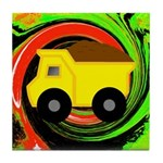 Dump Truck on Abstract Tile Coaster