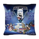 Dogs, Fun. & Rock and Roll Woven Throw Pillow