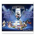 Dogs, Fun. & Rock and Roll Square Car Magnet 3