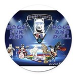 Dogs, Fun. & Rock and Roll Round Car Magnet