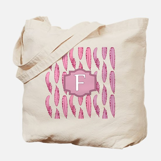 Letter F Pink Feathers Monogrammed Tote Bag