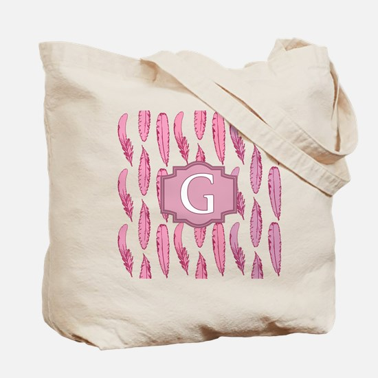 Letter G Pink Feathers Monogrammed Tote Bag