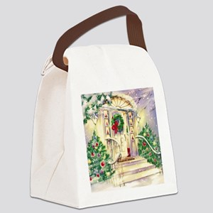 Vintage Christmas House Canvas Lunch Bag