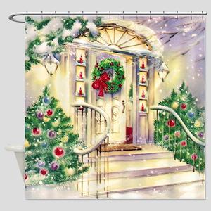 Vintage Christmas House Shower Curtain