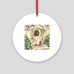 Vintage Christmas House Ornament (Round)