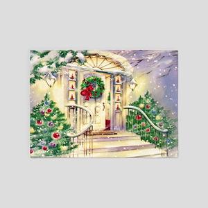 Vintage Christmas House 5'x7'Area Rug
