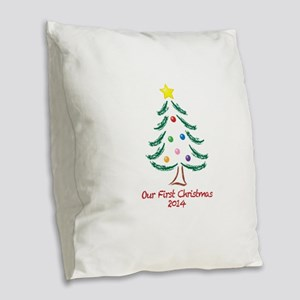 Our First Christmas 2014 Burlap Throw Pillow