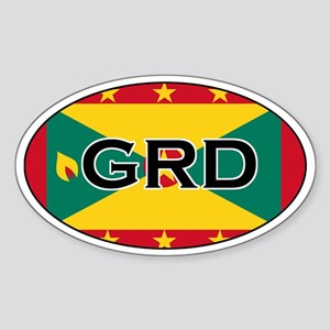 Grenada Flag Oval Sticker