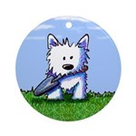 Garden Helper Westie Ornament (Round)