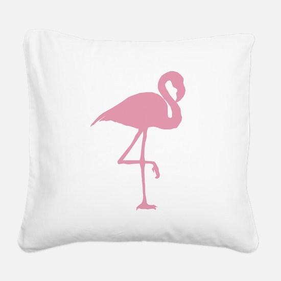 Pink Flamingo Square Canvas Pillow