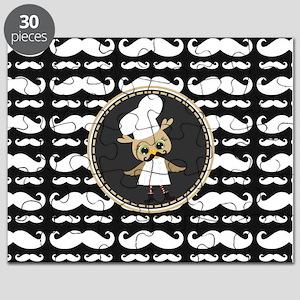Retro Mustache Owl Chef Puzzle
