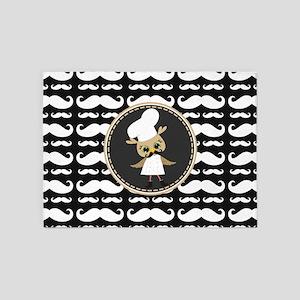 Retro Mustache Owl Chef 5'x7'Area Rug