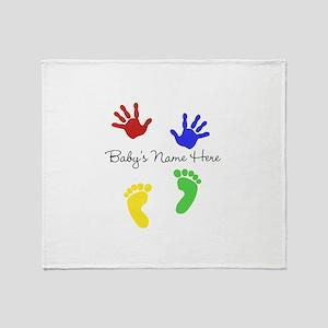Babys Name Here Cute Design Throw Blanket