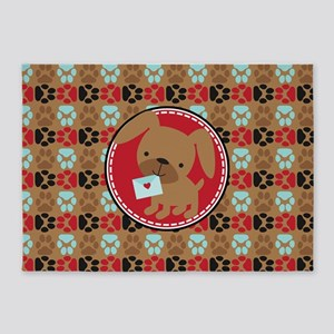 Pawprint Puppy Pattern 5'x7'Area Rug
