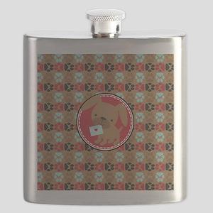Pawprint Puppy Pattern Flask
