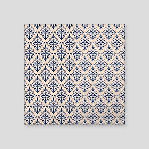 """Monaco Blue & Linen Damask Square Sticker 3"""" x 3"""""""