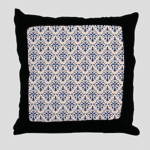 Monaco Blue & Linen Damask 41 Throw Pillow