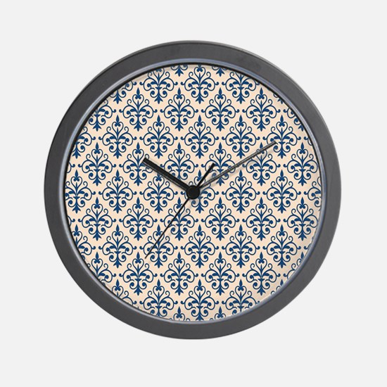 Monaco Blue & Linen Damask 41 Wall Clock