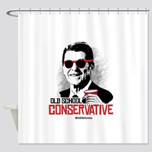 Reagan: Old School Conservative Shower Curtain