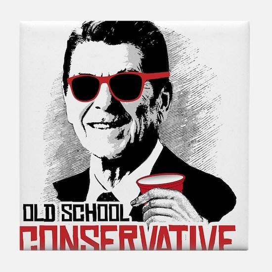 Reagan: Old School Conservative Tile Coaster