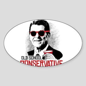 Reagan: Old School Conservative Sticker (Oval)
