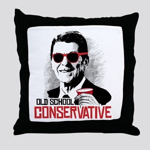 Reagan: Old School Conservative Throw Pillow