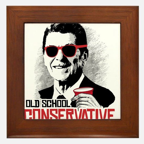 Reagan: Old School Conservative Framed Tile