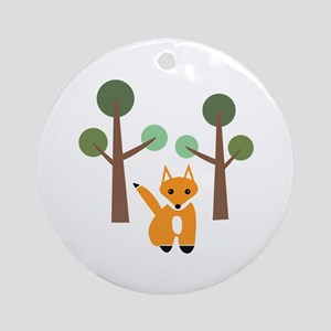 Fox In Woods Ornament (Round)