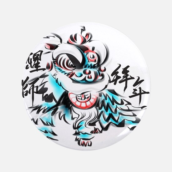 """Chinese Lion 3.5"""" Button (100 pack)"""