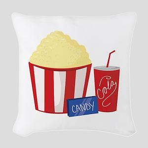 Movie Snacks Woven Throw Pillow