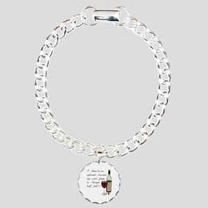 Wine Glass Half Full Opt Charm Bracelet, One Charm
