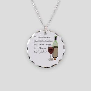 Wine Glass Half Full Optimis Necklace Circle Charm