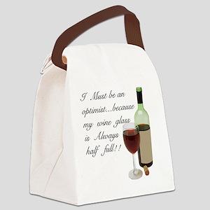 Wine Glass Half Full Optimist Canvas Lunch Bag
