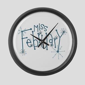 Miss February Large Wall Clock