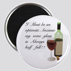 Wine Glass Half Full Optimist Magnet