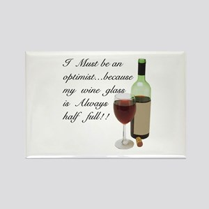 Wine Glass Half Full Optimist Rectangle Magnet