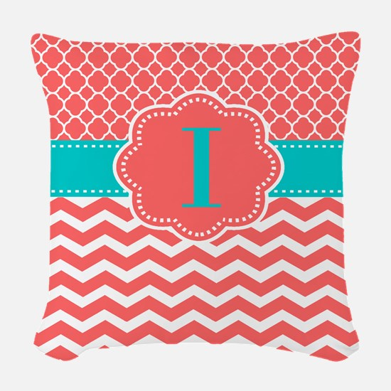 Coral Teal Chevron Monogram Woven Throw Pillow