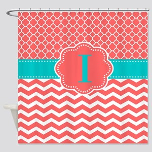 Coral Teal Chevron Monogram Shower Curtain