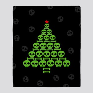 Skull Xmas Tree Throw Blanket